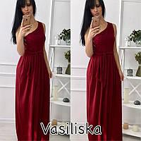Женское модное платье в пол с кружевом на одном плече (3 цвета)
