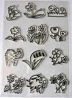 Набор силиконовых штампов,  смешные цветочки