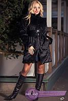 Женский полушубок с широким кожаным поясом