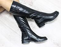 Зимние натуральные кожаные сапоги с молнией по всей длине черного цвета