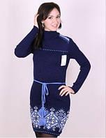 Темно синее платье с узором по низу