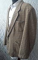 Твидовый пиджак в клетку бежевого цвета шерсть
