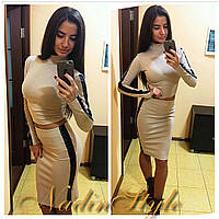 Женский стильный повседневный комплект: топ/ кофточка и юбка (3 цвета)