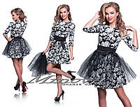 Черно белое нарядное платье  коттон + съемная фатиновая юбка Размеры:42,44,46