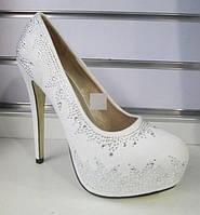Свадебные туфли на платформе в стразах (Т-260-39) ПОСЛЕДНИЙ размер 39