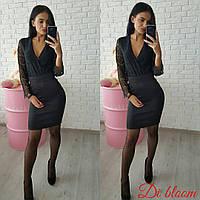 Женское стильное черное платье-кимоно: верх гипюр