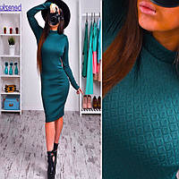 Женское стильное платье из стеганного трикотажа (2 цвета)