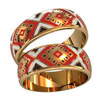 Национальные эксклюзивные золотые обручальные кольца 585* пробы с эмалью