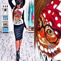 """Невероятно модный костюм: свитшот с принтом и юбка """"Кот в очках"""" (свитшот или юбку можно купить отдельно)"""
