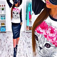 """Невероятно модный костюм: свитшот с принтом и юбка """"Кот"""" (свитшот или юбку можно купить отдельно)"""