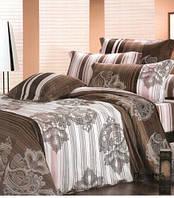 Постельное белье Долорес, сатин ТМ Идеал, коричневый, в полоску, 1,5, 2-спальный, евро, семейный
