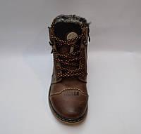 Подростковые зимние кожаные ботинки, коричневые, на шнурке и змейки