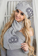 Зимний женский комплект «Фантастик» (берет и шарф) Светло-серый меланж