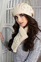 Зимний женский комплект «Фантастик» (берет и шарф) Песочный