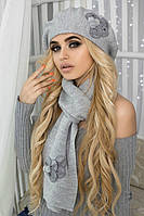 Зимний женский комплект «Камилла» (берет и шарф) Светло-серый меланж