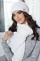 Зимний женский комплект «Диадема» (шапка и шарф) Белый