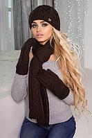 Зимний женский комплект «Эрика» (шапка, шарф и варежки) Коричневый
