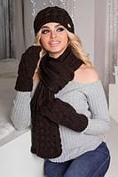 Зимний женский комплект «Анабель» (шапка, шарф и варежки) Коричневый