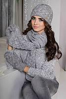 Зимний женский комплект «Анабель» (шапка, шарф и варежки) Светло-серый меланж