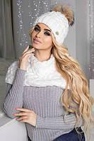 Зимний женский комплект «Аваланж» (шапка и шарф-хомут) Белый