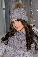Зимний женский комплект «Аваланж» (шапка и шарф-хомут) Светло-серый