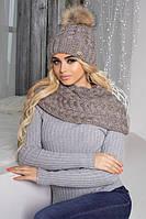 Зимний женский комплект «Аваланж» (шапка и шарф-хомут) Темный кофе