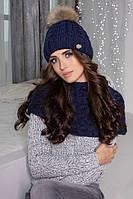 Зимний женский комплект «Аваланж» (шапка и шарф-хомут) Джинсовый