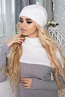 Зимний женский комплект «Эмили» (шапка-колпак и шарф-хомут) Белый