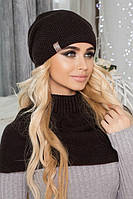 Зимний женский комплект «Эмили» (шапка-колпак и шарф-хомут) Коричневый