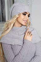 Зимний женский комплект «Эмили» (шапка-колпак и шарф-хомут) Светло-серый меланж