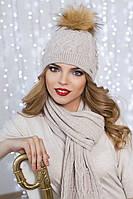 Зимний женский комплект «Сабрина» (шапка и шарф) Светлый кофе