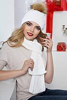 Зимний женский комплект «Сабрина» (шапка и шарф) Белый