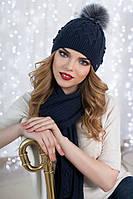 Зимний женский комплект «Сабрина» (шапка и шарф) Джинсовый