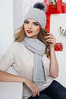 Зимний женский комплект «Сабрина» (шапка и шарф) Светло-серый меланж