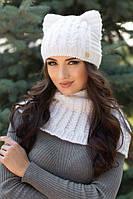 Зимний женский комплект «Лекси» (шапка-кошка и шарф-хомут)  Белый