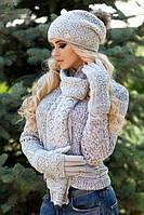 Зимний женский комплект «Афродита» (шапка, шарф и перчатки) Светло-серый меланж