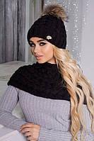 Зимний женский комплект «Аваланж» (шапка и шарф-хомут) Черный