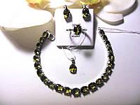 Серебряный гарнитур: серьги,кольцо и браслет с натуральным султанитом
