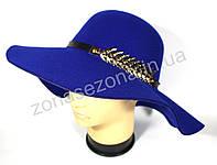 Женская шляпа с широкими полями электрик