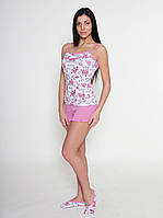 Женская пижама с цветочным принтом (майка+шорты)
