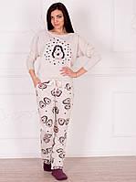 """Теплая женская пижама с красочным рисунком """"Ежики"""""""