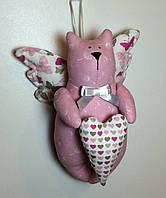 """Мягкая игрушка-подвеска ручной работы  """"Кот-летун"""" розовый"""