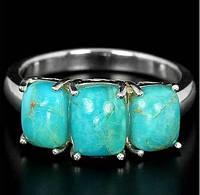 Натуральная бирюза Аризоны. Бесподобное кольцо из серебра в золоте