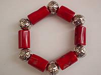 Браслет натуральный красный коралл  20 х 14 мм-6 штук. Серия Тибет- ИНДИЯ - SUPER