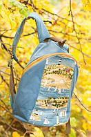 Рюкзак текстильный ручной работы «Маяки и Парусники» СИНИЙ SKU0000321
