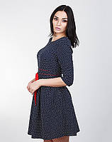 Синее платье в мелкий горошек, фото 1