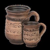 Кружка (кварта) глиняная Шляхтянская AF08 Покутская керамика  0,5 литра