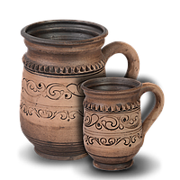 Кружка (кварта) глиняная Шляхтянская AF08 Покутская керамика  0,75 литра