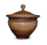 Горшок глиняный (макитра) с крышкой Шляхтянский AA02 Покутская керамика 2 литра