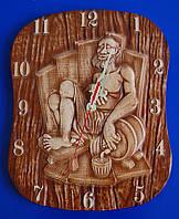 """Сувенир """"Банщик""""- часы из дерева"""